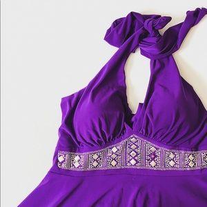 Tutu fashion purple silver accent halter dress